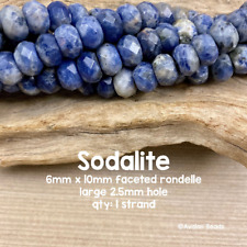 Blue Sodalite Large Hole Faceted Rondelle Gemstone Beads - 6mm x 10mm