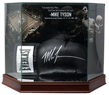 Mike Tyson Signed Black Everlast Boxing Glove In Photo Background Glove Case JSA