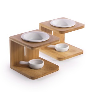 Bamboo Essential Oil Burner Set of 2 Wax Melt Holder With Tealight Spoon M&W