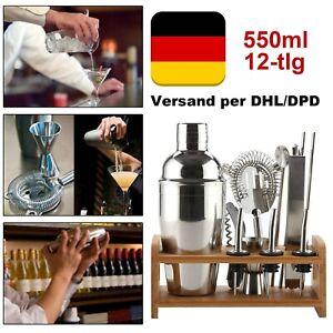 12-tlg Cocktail-Shaker Bar Set Zubehör Cocktailset Mixer 550ml Edelstahl Ständer