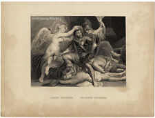 Original c. 1860 steel engraving, the victor's apotheosis