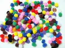 200 pompons ronds 12mm peluches polyester loisirs créatifs Mix couleurs DIY