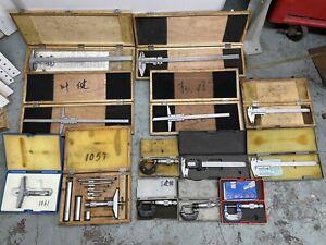 HUGE Machinist Lot Micrometer, Caliper, Vernier, Depth Mic, Depth Gage, Tools