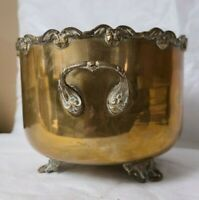 Vintage Gatco Solid Brass Footed Plant Pot with Handles