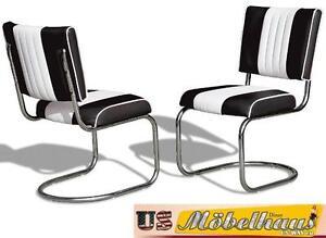 CO-27 Black Bel Air Furniture 2 Chairs Swingstuhl Diner Kitchen USA