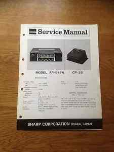 Sharp AR-947A  CP25 Push button Car radio Vintage Service Manual AR947 AR 947
