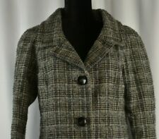 Sisley Sz 44/ 8-10 US Button Up Coat Checkered Shimmer Wool Blend Overcoat Plaid