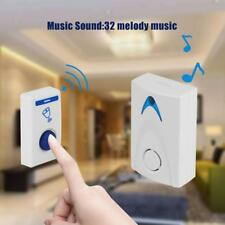 LED Wireless Chime Door Bell Doorbell Wireless Remote Control 32 Tune Songs Bell