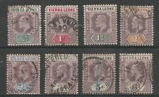 SIERRA LEONE 1903 EVII SELECTION OF 8 FINE USED CAT £156