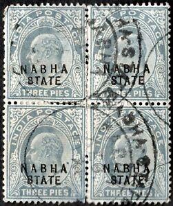 INDIA NABHA 1903 EDWARD VII USEDBLOCK-4 SC#A32/27 GREY 3P WMK 1-STAR
