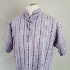 DEL SOL ~ Guatamala Knit Pullover ~ Banded 1/4 Button Front Lavendar Stripe ~M/L