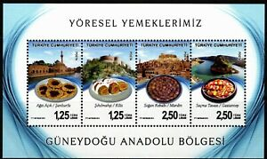 TURKEY 2014 SOUTHEASTERN ANATOLIA CITES FAMOUS FOOD & FAMOUS PLACES SHEET MNH