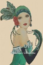 Art Deco Lady in Green Dress Cross Stitch COMPLETE KIT #1-110