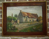 huile sur panneau calvaire et chaumière bretonne - peinture signé 20ème bretagne