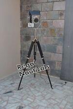 Black Chrome Spotlight  Studio  Nautical Floor Lamp Wooden Tripot stand
