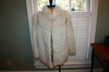 Vintage Blue Fox Silver Finland Saga Fox Coat Jacket Fur white Gray Medium Med