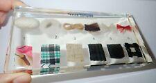 6 Textile Samples Collection Set in Clear Lucite Block Education Specimen Kit