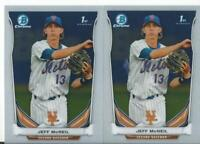 (2)  JEFF MCNEIL    METS ROOKIE CARD 1ST BCP56 RC SP 2014 BOWMAN CHROME PROSPECT