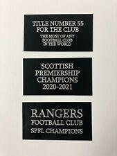 Rangers FC - 130x70mm Engraved Plaque Set of 3 - For Memorabilia Dealer Framer