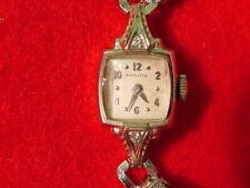 Vintage Hamilton 10 Kt White Gold Ladies Watch 17 Jewel 750 Running Diamonds