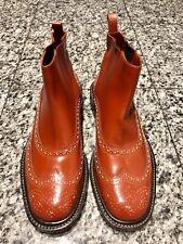 Robert Clergerie Paris Orange Leather Brogue Laser Cut Ankle Boots