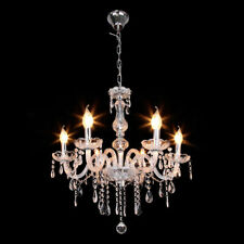 6 Arms Chandelier Crystal Glass Ceiling Light E12 Pendant Lamp Transparent Color