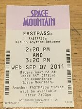 2011 Walt Disney World - Space Mountain Paper Fastpass - MINT CONDITION
