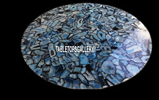 15'' Marble Dining Room Table Top Inlay Lapis Exclusive Stone Random Work H3845A