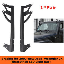 "07-18 Jeep Wrangler JK Windshield Mounting Brackets for Dual 50"" LED Light Bar"
