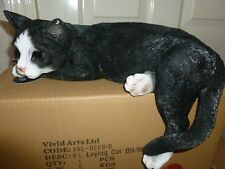 BRAND NEW LAYING BLACK/WHITE CAT GARDEN ORNAMENT