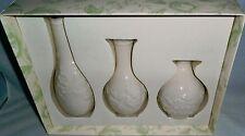 Set of 3 Lenox Carved Posy Vases Original Box