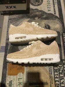 Nike Air Max 90 Laser Tan Wood grain Retro Sneaker (DC7948-100) Men's Size 8.5