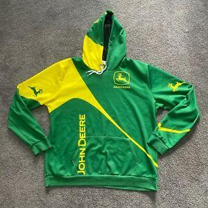 John Deere Mens Green Yellow Long Sleeve Pockets Hoodie Size XL