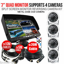 "7"" Quad Monitor+4x White 12-24V 4Pin CCD Reversing Camera For Caravan"
