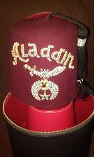 S ALADDIN RED FEZ HAT SZ 7 1/4VINTAGE  NEW YORK CITY MASONIC FREEMASONRY SHRINER