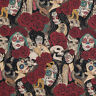 Nocturna Dark Alexander Henry Fabric Day of the Dead, Sugar Skulls, Pinup,