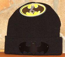 DC COMICS BATMAN Toque Winter Hat Cuffed Beanie Cuff with Metal Bat Signal Black