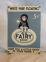 Collectible Fairy Soap Reproduction Porcelain Metal Heavy Sign By Ande Rooney