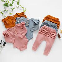 Newborn Baby Girls Long Sleeve Ruffles Bowknot Romper Bodysuit+Pants Outfits