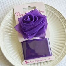Purple Rose Bow Ribbon Easy Clip On Present Gift Bow Christmas Gift Wrap Organza
