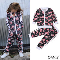 Kids Toddler Girls Tracksuit Floral Sweat Shirt Tops + Pants 2PCS Outfits 2-7Y
