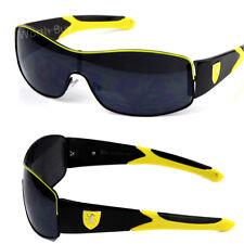 New Khan Mens Sports Shield Sunglasses Wrap Metal Designer Black Yellow Wrap