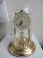 RARE Vintage JUNGHANS GOLD GLASS DOME Mantle CLOCK MADE IN GERMANY Quartz