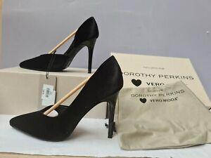 Vero Moda Dorothy Perkins High Heel Court Shoes Black Velvet Size 5 RRP £45