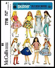"Barbie sister 9"" SKIPPER DOLL Dress Fabric Sewing Pattern Mattel McCall's #7716"