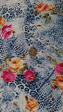 Top Quality 4-way Stretch Poly Lycra Fabric/Material - Leopard & Roses print