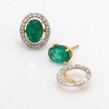 14K Gold Natural Emerald and Diamonds Studs Stunning Gemstone Classic Earrings
