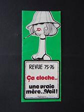 NANTES PROGRAMME REVUE DE LA CLOCHE 1975 HUMOUR BURLESQUE MUSIC HALL