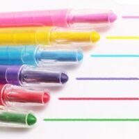 6x CHILDRENS VIBRANT TWIST SOFT CRAYONS Extend Wax Colour Pen Draw Colouring Art