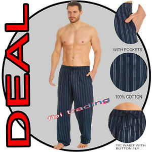 Mens Pyjamas Pants Bottoms STRIPE  Fabric Lounge Trousers Nightwear Pjs COTTON
